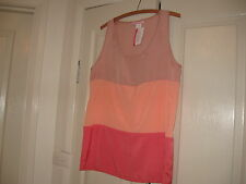 Ladies Top Size S  Design Supre  Soft pink,Fawn & Orange No Sleeves Polyester