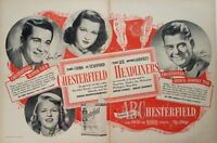 1948 Chesterfield Cigarettes Perry Como Arthur Godfrey Vintage Poster Print Ad