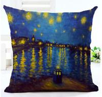 DOCTOR WHO TARDIS PAINTING Cushion Cover! Dr Retro Sky Art Throw Pillow UK 45cm