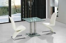 Dining Kitchen Table Set Clear Glass Small Square Top Two Chairs Cream Black