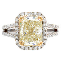 GIA Certified Radiant Shape Fancy Yellow Platinum Diamond Ring 2.25 CT
