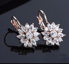 Rose Gold Studs Crystal Flower Drops Earrings Statement Wedding Bridesmaid Gift