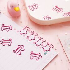 10pcs Cartoon Pig Animal Pink Bookmark Paper Clip Hollow Out Metal Binder Clips