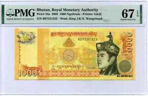 Bhutan 1000 Ngultrum 2008 P 34 a Superb Gem UNC PMG 67 EPQ