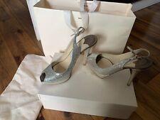 Jimmy Choo 'Shaw' Champagne Silver Glitter Sling Back Peep Toe Heels Eu 37.5