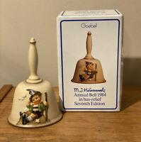 Vintage MJ Hummel Bell Goebel Seventh Annual Bell 1984 Handcrafted Germany W/B