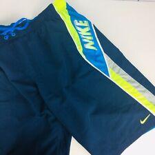 Nike Spellout Board Shorts Blue Neon Green Swim Trunks Men's Small Swimwear