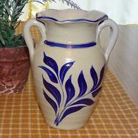 Vintage 1997 Williamsburg Pottery Salt Glaze Stoneware Handled Vase Cobalt Leaf