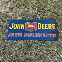 "VINTAGE ""JOHN DEERE FARM IMPLEMENTS"" PORCELAIN METAL ENAMEL SHOP FARM SIGN 18x8"""