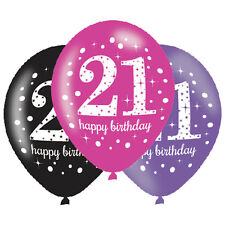 Amscan 11-Inch Celebration 21st Happy Birthday Latex Balloons Pack of 6