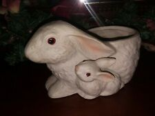 Inarco Vintage Mom & Baby Bunny Ceramic Pottery Planter Life Like Candy Containe