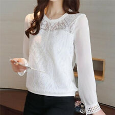 Fashion Long Sleeve Casual Shirt Top Patchwork Lace Chiffon Blouses Tops JDUK XXL White