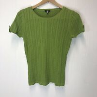 Talbots Womens size Petite Pullover Sweater Green Cable Knit Short Sleeve Thin