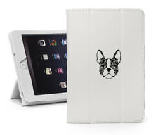 For Apple iPad Leather Smart Stand Case Cover Protector French Bulldog Floral