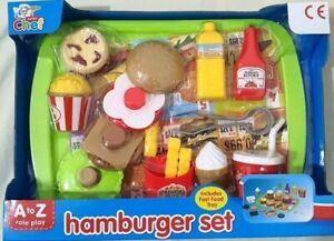 Kids Pretend Role Play Kitchen Hamburger Food Toy  Set Child Gift