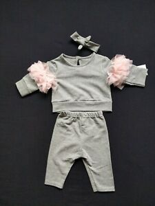BEAUTIFUL BABY GIRLS FRILLED SLEEVES LOUNGEWEAR TRACKSUIT  NEWBORN TO 24 MONTHS