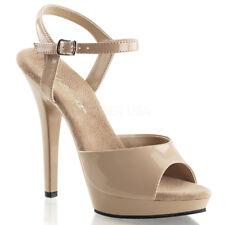 "Pleaser Lip-109 Women's 5"" Stiletto Heel Ankle Strap Platform Sandal 6 Nude/nude"