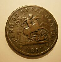 "1857 BANK OF UPPER CANADA ONE PENNY BANK TOKEN  ""WE COMBINE SHIPPING"" #17-286"