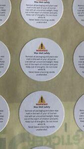 Wax Melt Warning Labels Stickers - Matt 29mm Diameter x48