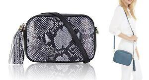 Handbag Bliss Italian Leather Mock Snakeskin Tassel Camera Style Cross Body Bag