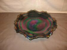 """Vintage Blue Iridescent Carnival Glass Rippled Plate 10 1/2"""""""
