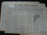 THE WALL STREET JOURNAL NEWSPAPER September 11,12,13,14,  2001