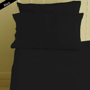 1000 TC  Egyptian Cotton 4Pc Sheet Set US-Olympic Queen Size Black Solid