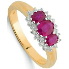 Ruby and Diamond Ring Trilogy Yellow Gold Three Stone Engagement Certificate