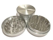 "Sharpstone Portable 2.5"" Inch Hard Top Herb Tobacco Grinder 2 pc Large Silver"