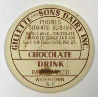 Gillette & Sons Dairy Watertown NY New York Chocolate Vintage Milk Bottle Cap