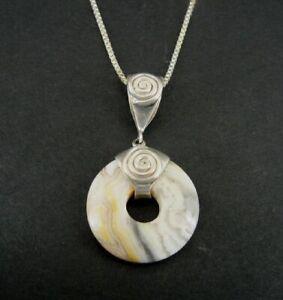 SAJEN Necklace Jasper Stone Round Lifesaver Sterling Silver 925 Pendant Chain