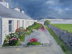 Original watercolour of Moelfre Cottages ,Anglesey ,Wales