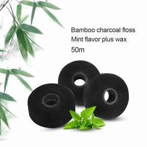 5pcs 50m Bamboo Charcoal Dental Flosser Built In Spool Wire Toothpick Mint Floss