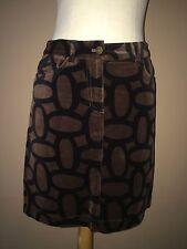 Boden Brown Black Geometric Cotton Velour Skirt Sz.4r-USA,8r-uk