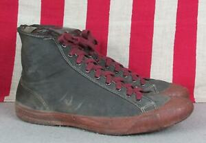 Vintage 1930s Black Canvas Basketball Sneakers Keds Red Rubber Gym Shoes 10.5