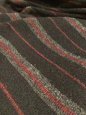 Red Gray Horizontal Stripe on Black MFH KNITS Peru Baby Alpaca Sweater L NWT