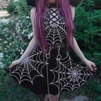Women Gothic Goth Punk Halloween Party Dress Spider Web Halter Sleeveless MimonA
