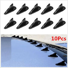 Universal 10 Pcs Car Black PP Roof Shark Fins Spoiler Wing Kit Vortex Generator