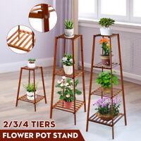 2/3/4Tiers Flower Plant Pot Stand Wooden Shelf Holder Rack Garden Indoor Decor