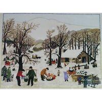 Grandma Moses SUGARING OFF Vintage Crewel Kit Americana Winter Scene