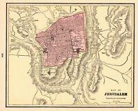 1895 Antique JERUSALEM Map Vintage Map of Jerusalem Gallery Wall Art Map 7103