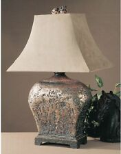 Rustic Bronze Finish Textured Table Lamp ~ Rectangle Base ~ Bell Shade ~ Brown