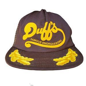 Vintage Trucker Hat Duff's Smorgasbord Snapback Brown Mesh Scrambled Eggs Cap