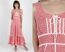 Vintage 70s Gunne Sax Dress Red Calico Bohemian Hippie Boho Long Prairie Maxi S
