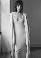 ZARA Ecru 100% Knitted Cashmere Long Ribbed STUDIO Dress M 12 14 BNWT