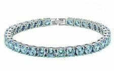 14.5CT Round Aquamarine .925 Sterling Silver Bracelet SBC1321-AQ SO6-AIE