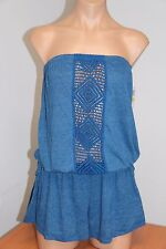 NWT Lucky Brand Swimsuit Bikini Cover Up Romper Size XS S Strapless DEN Summer