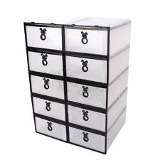 10 X Caja De Zapatos Apilable Cajón de Almacenamiento Transparente Plástic Hogar