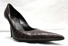 RENE CAOVILLA brown Leather PUMPS SHOES Womens 37 US 7 High HEEL Italy croc