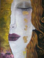 Modern Oil Painting 28x16.NOT a print Framing avail. Gustav Klimt abstract  art